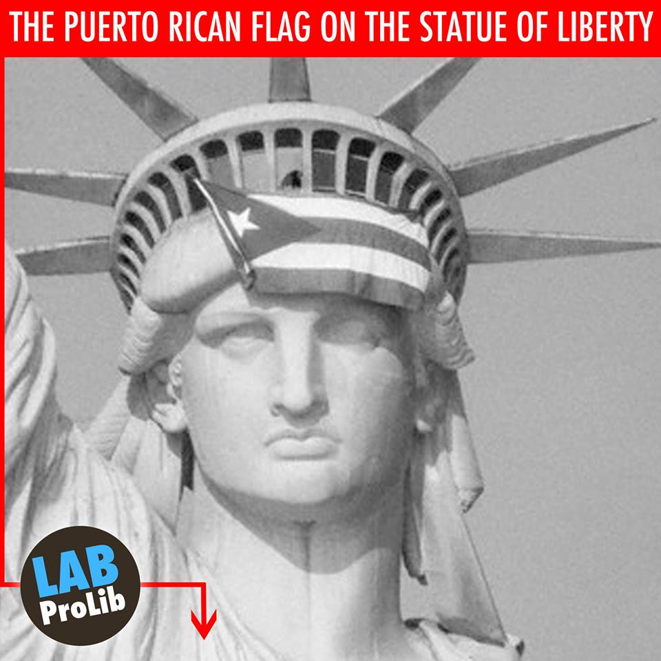Satatue Of Liberty With Puartarican Flag Tattoo: SYMBOLISM: THE PUERTO RICAN FLAG ON THE STATUE OF LIBERTY